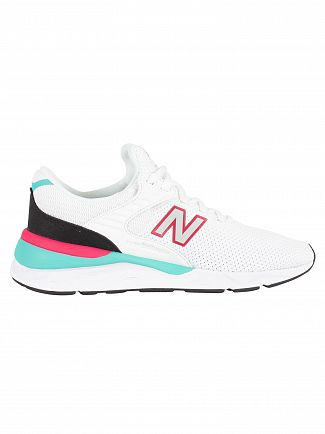 New Balance White/Pink/Green X-90 Trainers