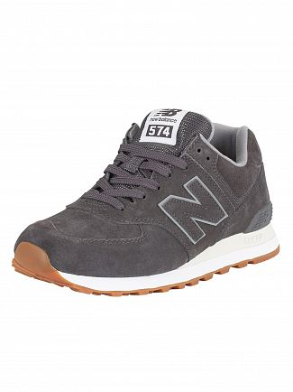 New Balance Dark Grey 574 Suede Trainers