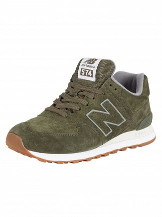 New Balance Dark Green 574 Suede Trainers