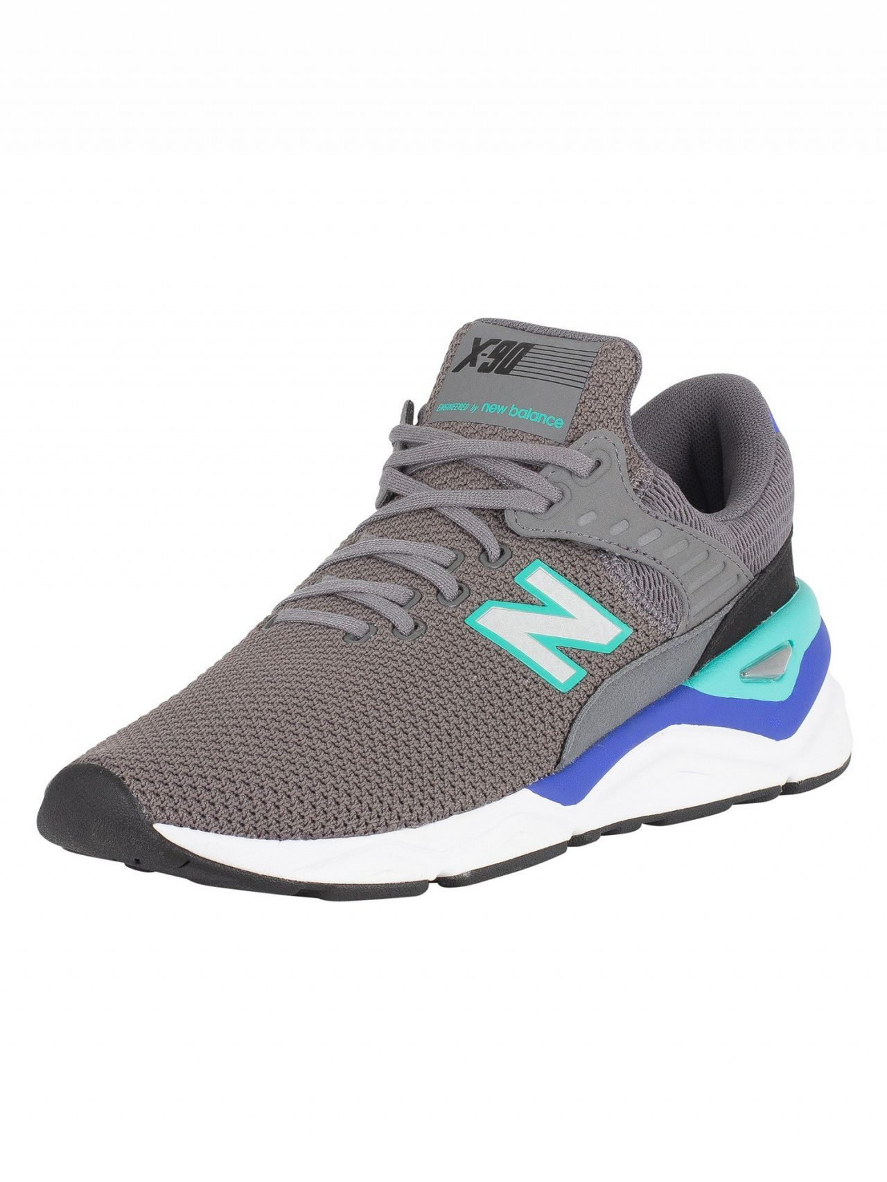 3a87cf3c2176 New Balance Grey/Blue/Green X-90 Trainers | Standout