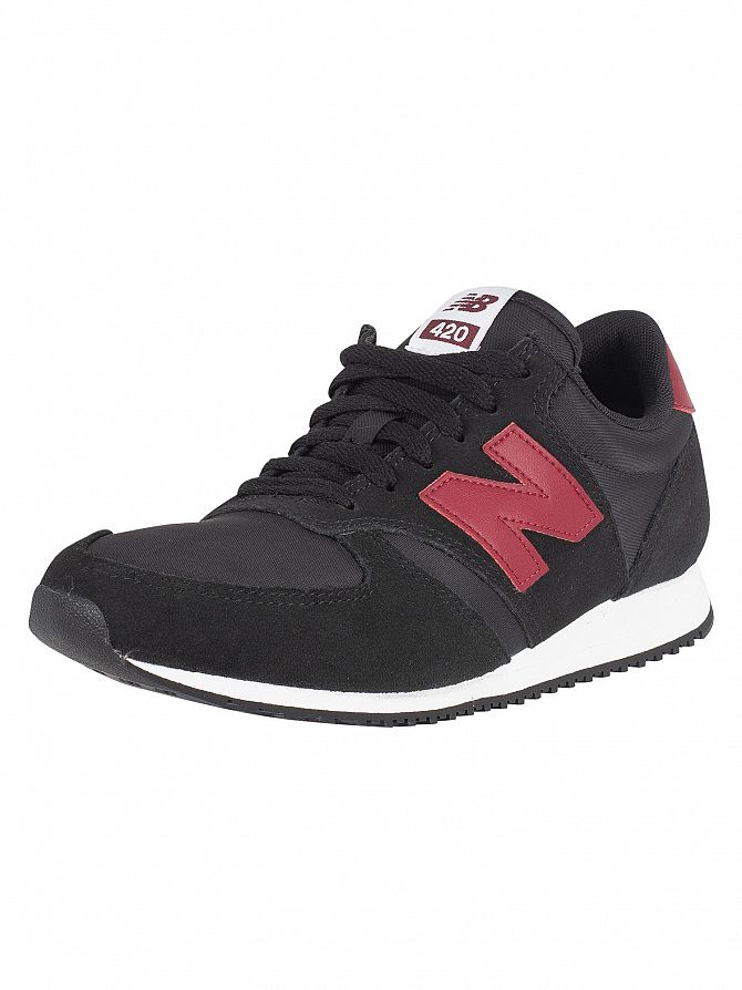 New Balance Black/Burgundy 420 Suede Trainers