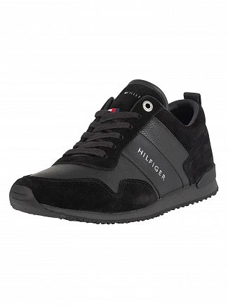 Tommy Hilfiger Black Iconic Leather Suede Trainers