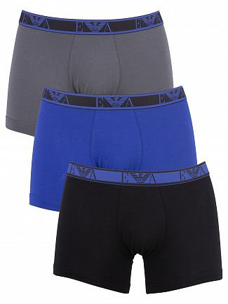 Emporio Armani Black/Blue/Grey 3 Pack Boxer Briefs