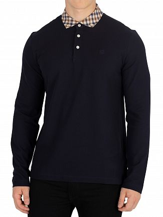 Aquascutum Navy Coniston Longsleeved Polo Shirt