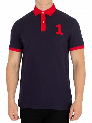 Hackett London Navy Archive Number Polo Shirt