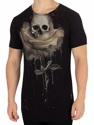 Religion Black Rose Painting T-Shirt