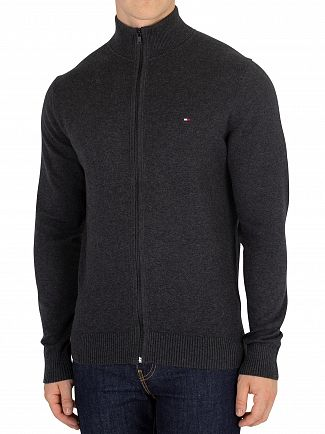 Tommy Hilfiger Charcoal Heather Pima Cotton Cashmere Zip Knit