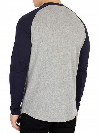 Tommy Jeans Black Iris/Light Grey Heather Raglan Baseball Longsleeved T-Shirt