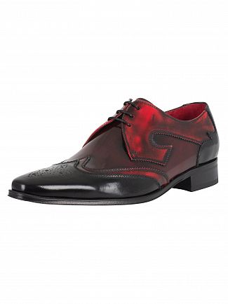 Jeffery West College Black/College Red Mix Polished Shoes
