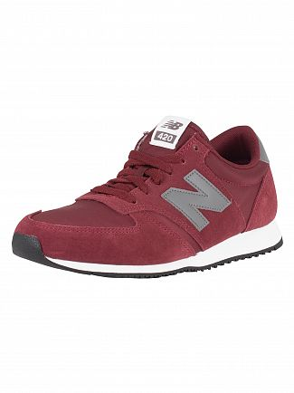 New Balance Burgundy/Castlerock 420 Suede Trainers