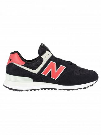 New Balance Black/Pomelo 574 Suede Trainers