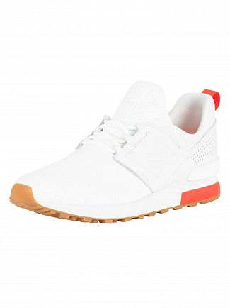 New Balance White/Flame 574 Trainers