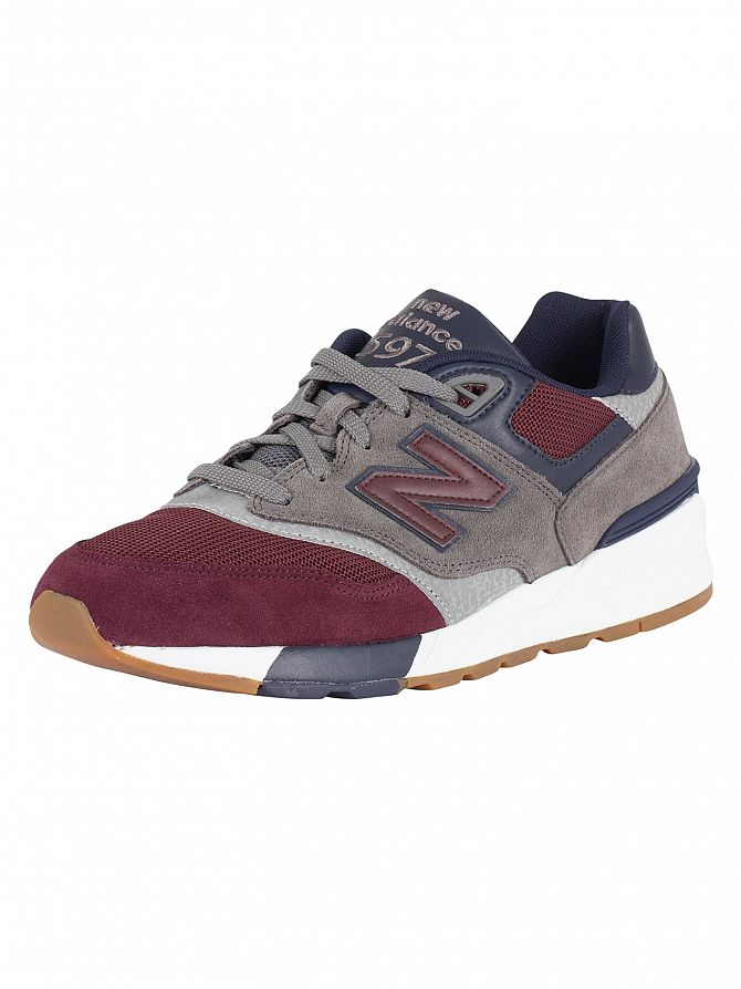 New Balance Grey/Burgundy 597 Suede Trainers