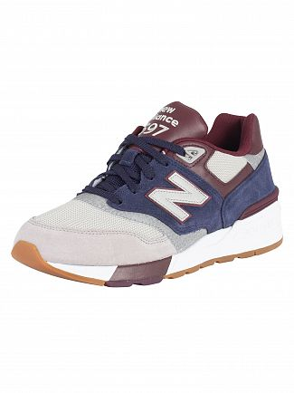 New Balance Burgundy/Castlerock 597 Suede Trainers
