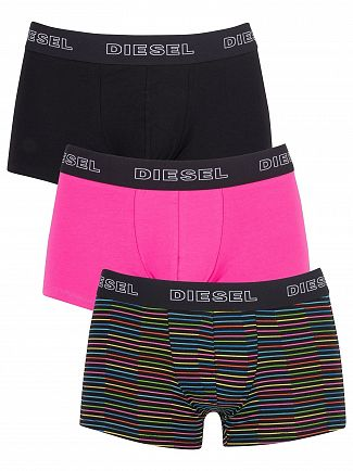 Diesel Stripe/Pink/Black 3 Pack Shawn Instant Looks Trunks