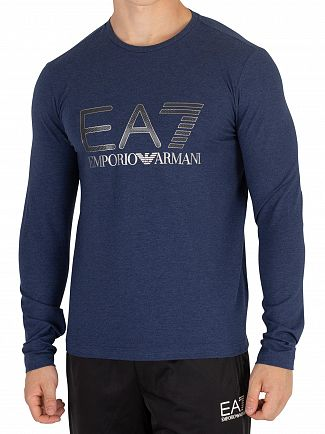 EA7 Blue Melange Graphic Longsleeved T-Shirt