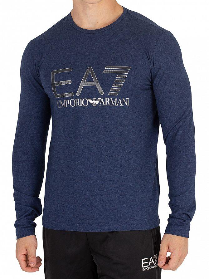 EA7 Blue Melange Graphic Longsleeved T-Shirt