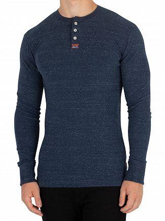 Superdry Washington State Blue Grit Heritage Grandad Longsleeved T-Shirt