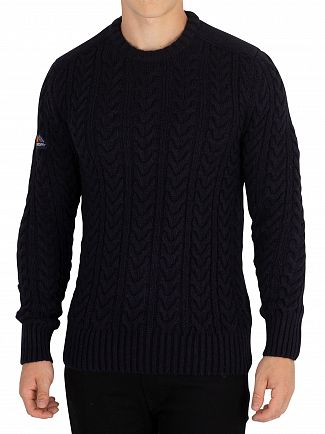 Superdry Navy/Black Twist Jacob Crew Knit