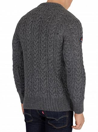 Superdry Graphite Grey Twist Jacob Crew Knit