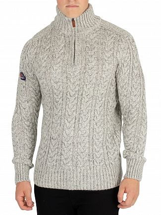 Superdry Concrete Twist Jacob Henley Zip Knit