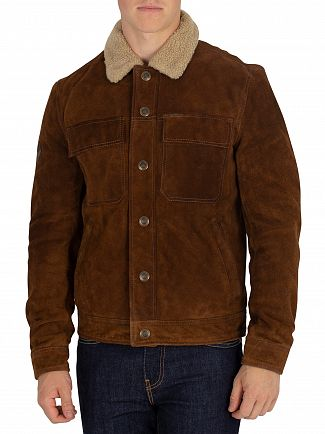 Superdry Tan Merchant Store Suede Trucker Jacket