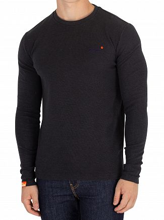 Superdry Dark Smoke Pique Orange Label Texture Longsleeved T-Shirt