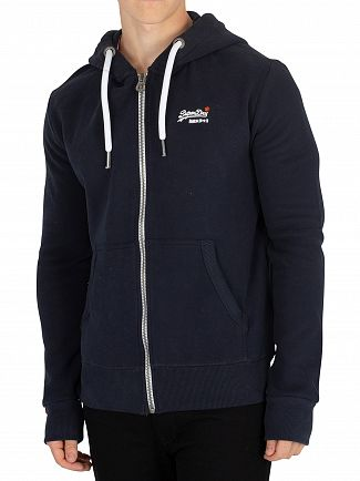 Superdry Eclipse Navy Orange Label Zip Hoodie