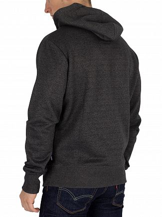 Superdry Charcoal Black Grit Sweat Shirt Store Tri Pullover Hoodie