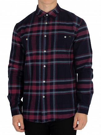Edwin Oxblood Red Garment Washed Labour Shirt