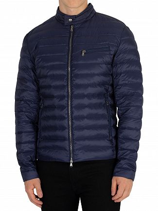 Hackett London Navy Down Moto Jacket