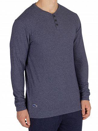 Lacoste Night Blue Longsleeved Buttoned Pyjama Top