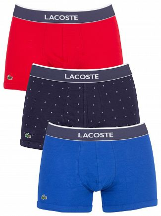 Lacoste Blue/Navy/Red 3 Pack Trunks