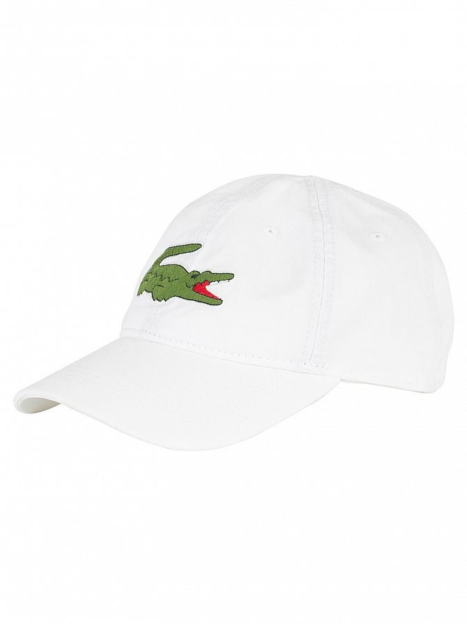 Lacoste White Big Logo Baseball Cap