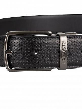 Lacoste Black Reversible Punched Leather Belt