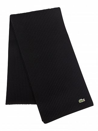 Lacoste Black Ribbed Logo Scarf