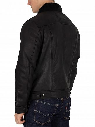 Levi's Black The Shearling Trucker Leather Jacket