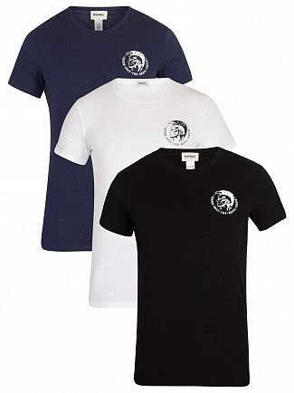 Diesel Black/Navy/White 3 Pack Crew T-Shirt