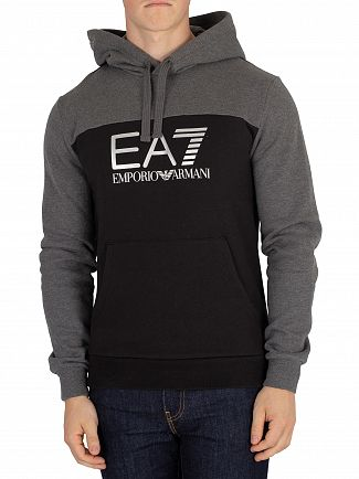 EA7 Black/Grey Graphic Pullover Hoodie