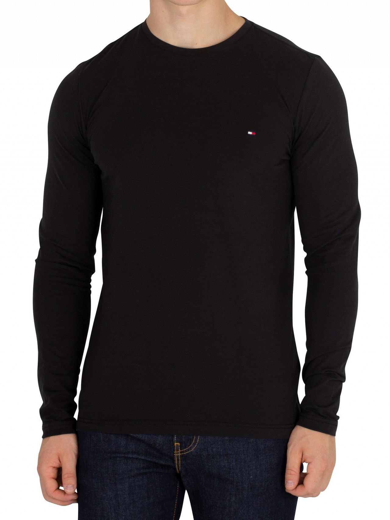 44b9762c Tommy Hilfiger Jet Black Longsleeved Stretch Slim Fit T-Shirt | Standout