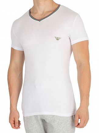 Emporio Armani White V-Neck T-Shirt