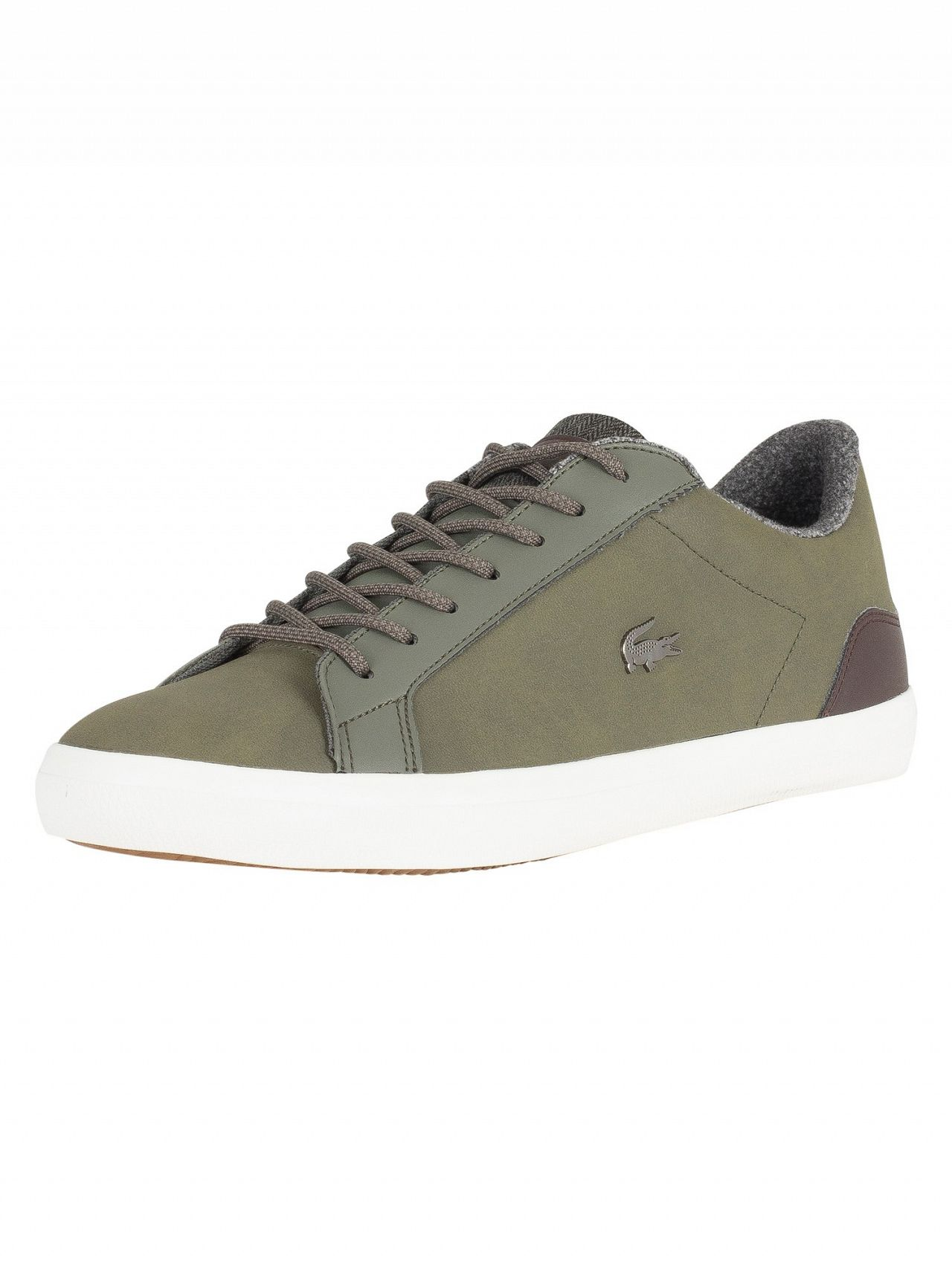 7fda80448 Lacoste Khaki Brown Lerond 318 2 CAM Leather Trainers