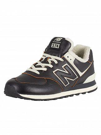 New Balance Black/White Munsell 574 Leather Sherpa Trainers