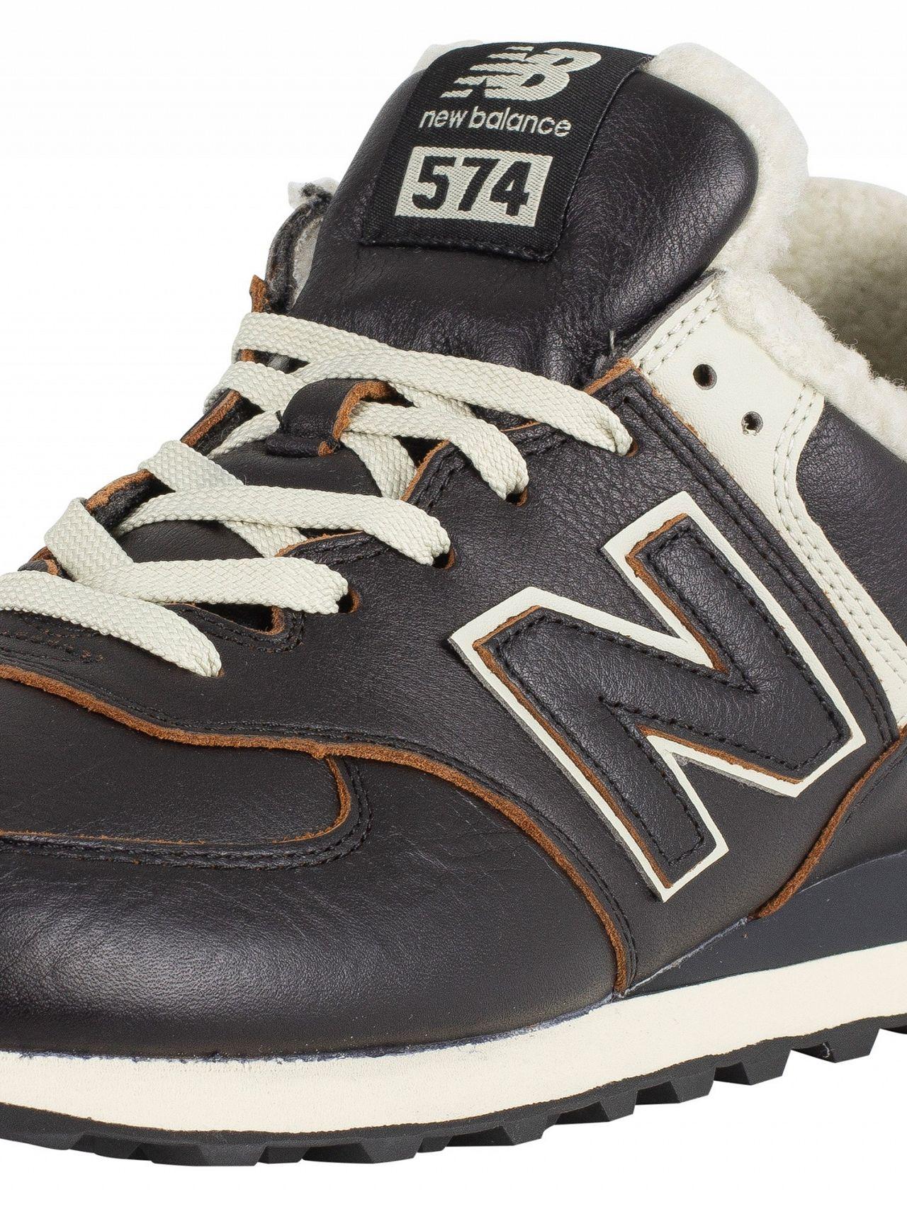 35e23ec684e New Balance Black/White Munsell 574 Leather Sherpa Trainers