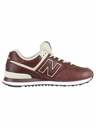 New Balance Cabernet/White Munsell 574 Leather Trainers
