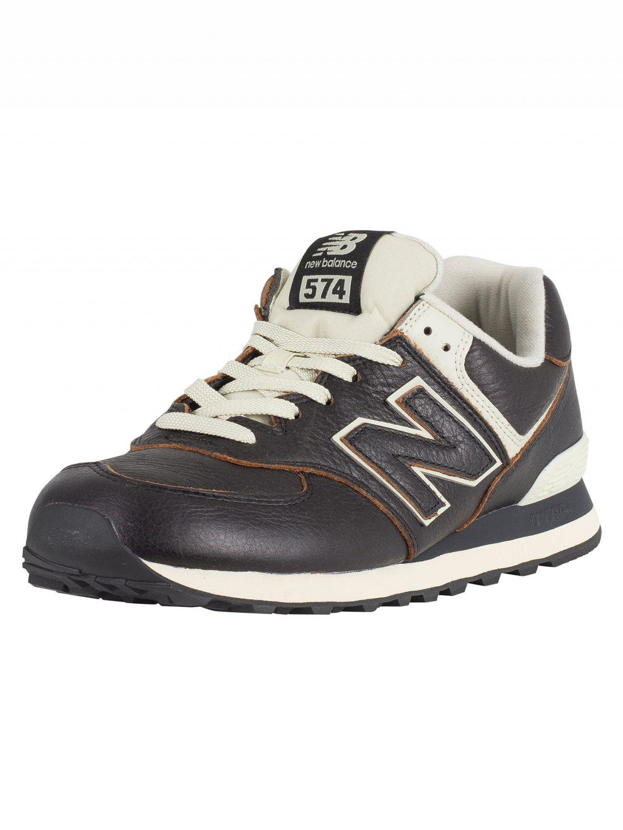 7a435b25c62 New Balance Black/White Munsell 574 Leather Trainers