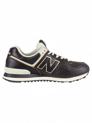 New Balance Black/White Munsell 574 Leather Trainers