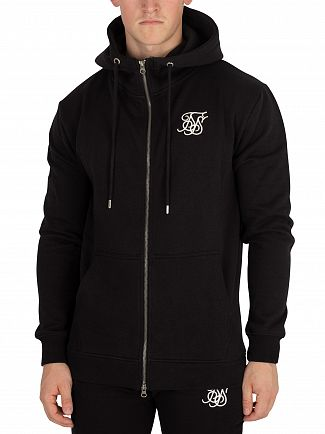 Sik Silk Black Muscle Fit Zip Hoodie