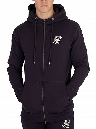 Sik Silk Navy Muscle Fit Zip Hoodie