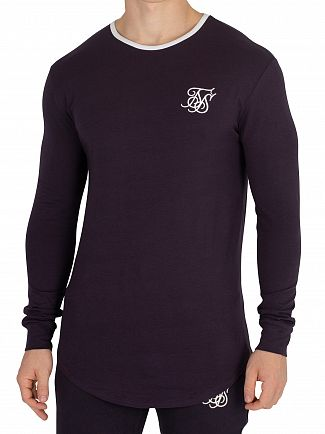 Sik Silk Navy Ringer Gym Longsleeved T-Shirt